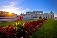 Belvedere park in Vienna sunset view