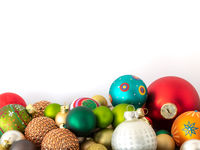 Christmas decoration glass balls on white background