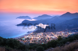 Beautiful Oludeniz at night in Turkey in summer. Landscape