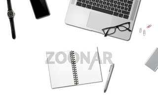 Office desk mockup top view isolated on white