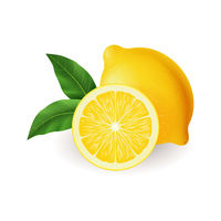 Realistic bright yellow lemon with green leaf whole and sliced vector