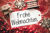 Flat Lay, Red Decoration, Calligraphy Frohe Weihnachten Means Merry Christmas