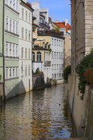 Prague. Czech Republic. Bridge over the canal and old houses.