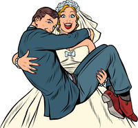 The bride carries the groom. Marriage and love. Man and woman couple