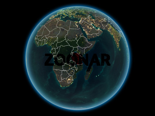 Tanzania on planet Earth from space at night