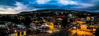 Aerial panorama view to old Harar city aka jugol at sunrise Ethiopia