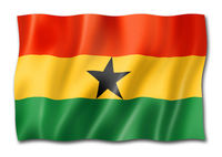 Ghanaian Flag flag isolated on white