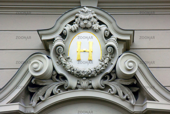 Monogram on the coat of arms, Prague