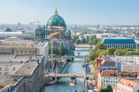 Berlin city skyline - aerial view on Mitte, river Spree, and Berlin Cathedral