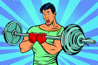 shocked man with a barbell in the gym