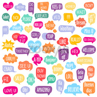 Set of different shape colorful speech bubbles with text
