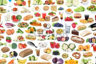 Sammlung Collage Essen gesunde Ernährung Obst und Gemüse Früchte Hintergrund Lebensmittel Freisteller