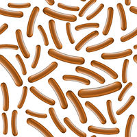 Realistic Boiled Sausage Seamless Pattern. Street Fast Food.
