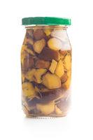Pickled boletus in jar.