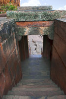 Steps leading from Cave 2 to Cave 3, Badami caves, Badami, Karnataka.