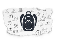 Travel concept: Backpack on Torn Paper background