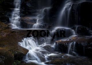 Tumbling mountain stream cascading over rocks