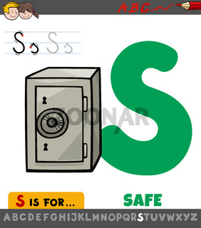 letter S worksheet with cartoon safe