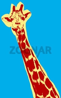 Giraffe picture over green background