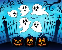 Halloween image with ghosts theme 8