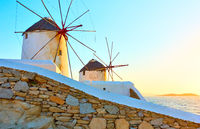 Windmills in Mykonos at sunset