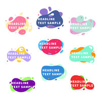Set of nine bright trendy modern graphic liquid elements on white