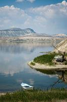 Lonely Rowboat at the Edge of Nallihan Lake in Turkey