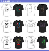 t shirt decorative designs concept set