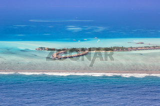 Malediven Insel Urlaub Paradies Meer Textfreiraum Copyspace Emboodhu Finolhu island Resort Luftbild