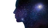 silhouette of woman over violet space background