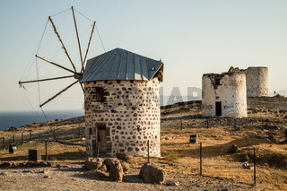 Remains of Historical Windmills in Bodrum, Turkey