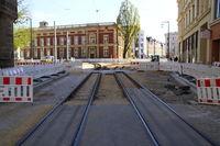 Baustelle zum Umbau der Straßenbahn in der Stadt Görlitz