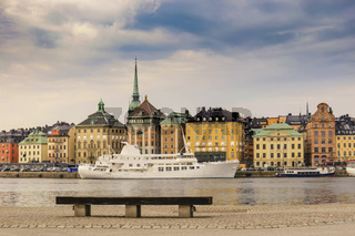 Stockholm Sweden, city skyline at Gamla Stan and Slussen