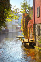Historic houses by river Gera in inner Erfurt in Germany