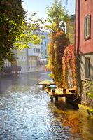 Historic houses by river Gera in inner Erfurt in Germany