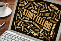 storytelling and story word cloud on laptop