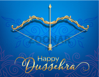 Blue Happy Dussehra festival card with gold bow and arrow patterned and crystals on paper color Background.