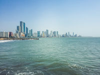 Oceean, coast and skyline of Cartagena, Colombia