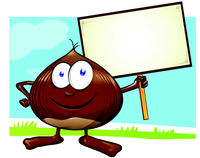 chestnut cartoon with signboard  on color background