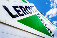 Leroy Merlin brand sign against blue sky.