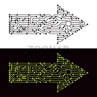 Electric scheme of arrow symbol