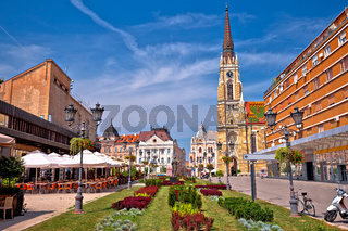 Novi Sad square and architecture street view,