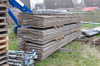 Building site with house under construction - Building materials