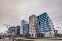 Oslo Norway, city skyline at business district and Bercode Project