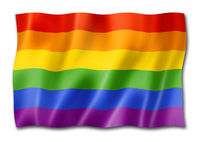 Rainbow gay pride flag isolated on white