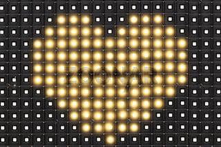 Dots matrix led diplay panel with illuminated symbol of heart