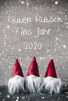 Red Gnomes, Snowflakes, Guten Rutsch Means Happy New Year 2020
