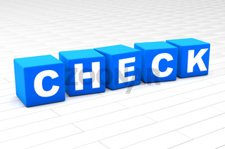 3D illustration of the word Check