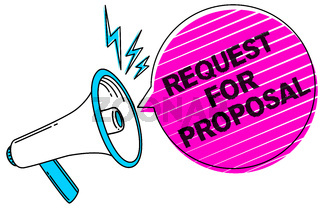 Writing note showing Request For Proposal. Business photo showcasing document contains bidding process by agency or company Sound speaker make announcement declare messages social network ideas.