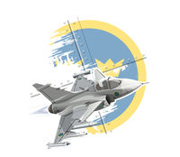 Cartoon modern military fighter plane